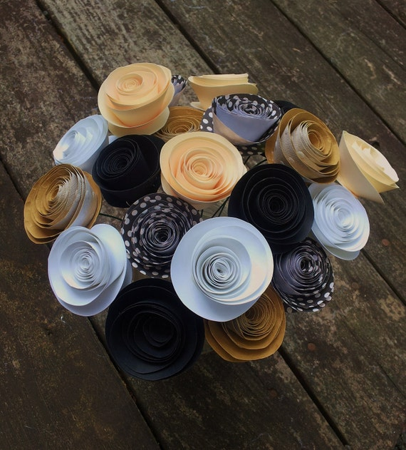 20 White Gold Black and Cream Handmade Rolled Paper Flower Bouquet for Brides, Weddings, Showers, Birthdays