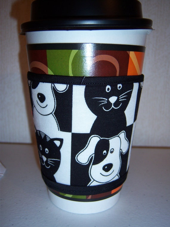Black and White Pet Coffee Cozy