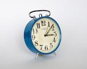 Vintage German mechanical alarm clock from Ruhla. Blue. Made in GDR (East Germany).
