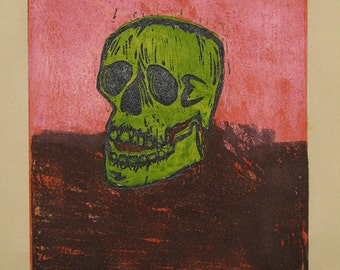 Hand-Pulled Woodcut Skull no. 3