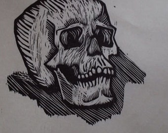 Hand-Pulled Woodcut Skull no. 5