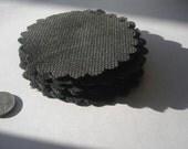 "3.75"" black burlap die cut scalloped circles for emblishments, flowers, scrapbooking, photo journals, crafts"