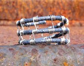 Woven Wire Men's Ring (black tie wire and silver)