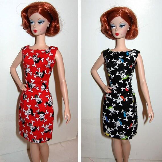 A lot of 2 Barbie Silkstone OOAK  Black & Red Sheath Dress with Pirate  Crossbone Skull prints Retro vintage style