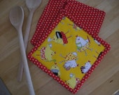 Potholder Set of 2 -8.5 x 8.5 Inch  Chickens Allover on Bright Yellow with Red Dots