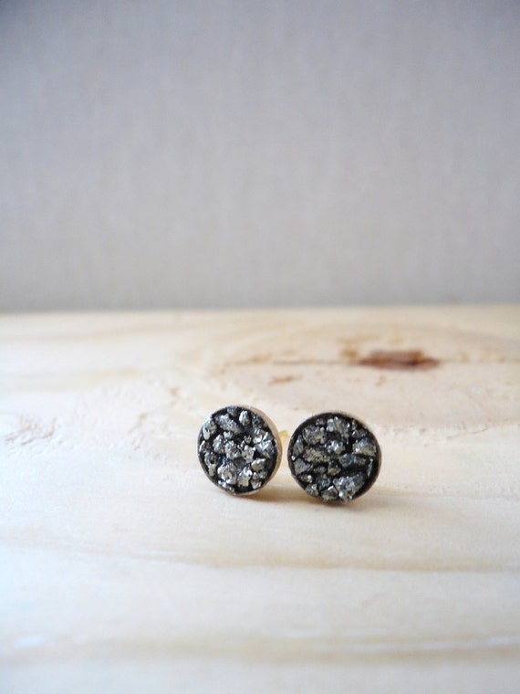 Small Pyrite Cluster Earring. 8mm