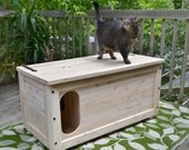 White Cedar cat litter box with L-Shaped entrance -  FREE SHIPPING