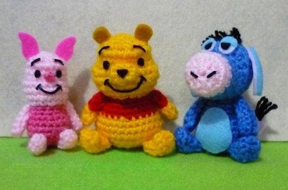 Crochet Amigurumi Eeyore : 3 pcs Crochet dollsMini Piglet Mini Winnie the by ...