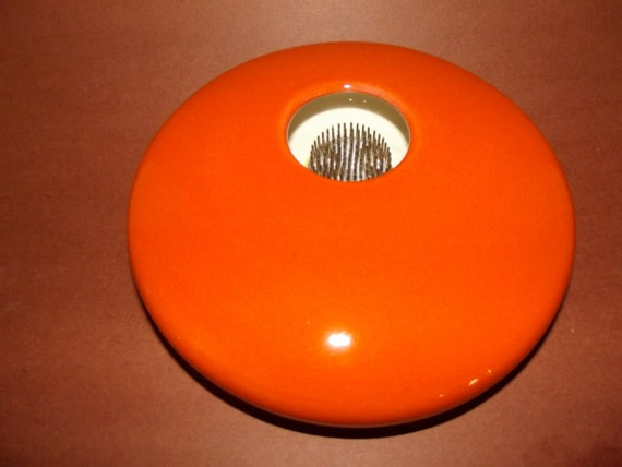 Large Round High Gloss Orange Ikebana Vase