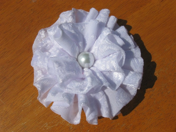 White Fabric flower Clip, Ruffled Flower with Pearl Center, Womens Hair Accessory, Wedding