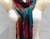 Rainbow colored cotton scarf, fashionable unique folds scarf, yarn-dyed leisure scarf, shawl, the female attachment