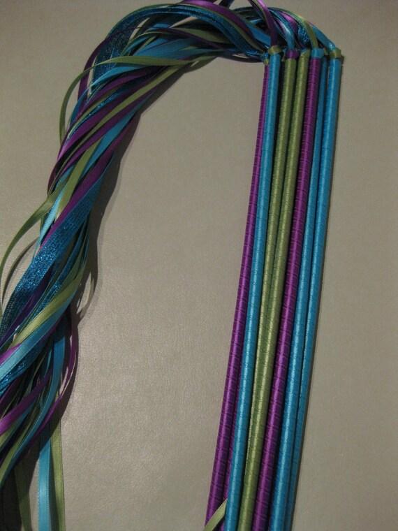 Peacock Wedding Ribbon Wands