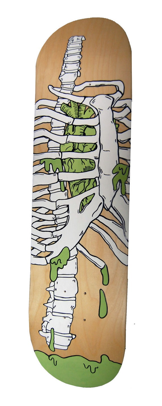 Hand Painted Rib Cage Skateboard Deck