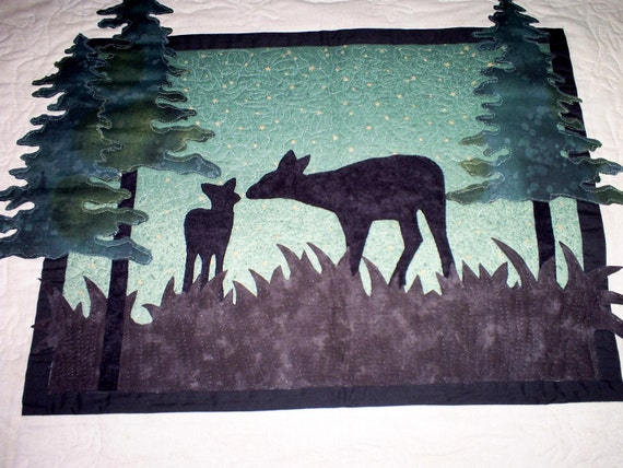 Quilted Wall Hanging - Doe and Fawn Sillouette