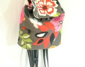 Darling Backpack Purse from Pretty Flowered Heavy Cotton Cloth and Upcycled Faux Leather Straps