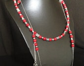 Red coral necklace silver metal