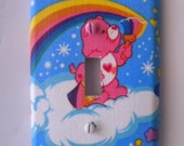 Love-a-Lot Pink Care Bears Light Switch Plate Single Handmade Cover