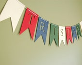 Custom Banner -Personalized Bunting (Sign, Flags, Pennants) colorful and fun for kids decor or nursery, wedding, shower, party or prop.