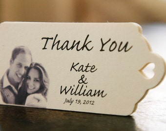 Personalized Wedding Favor Tags - (75) Custom Thank You Tags, Your Photo, Your Letters.Perfect for Wedding or Party Favors