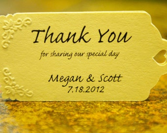 Wedding Favor Tags - Hand Embossed (50) - Personalized Thank You Tags, Perfect for Weddings or Party Favors