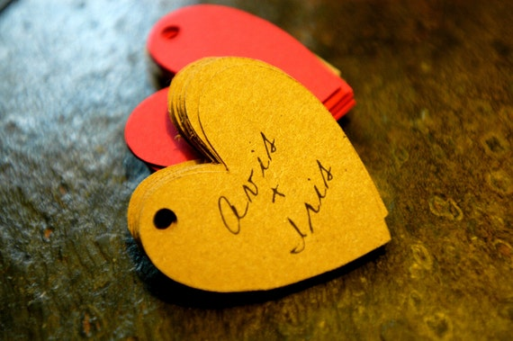 Wedding Favor Tags Heart Shaped - Customized / Personalized Tags just for you. Thank You tags.