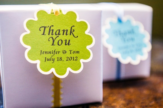 12 Personalized Thank You Tags - Custom Flower Thank You Tags, Your Colors, Your Letters. For Weddings, Birthday, Party or any Occasion