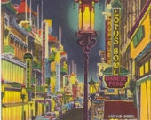 CHINATOWN at Night, SAN FRANCISCO, California, Vintage Unused Postcard, 1940s, A Colourpicture Publication