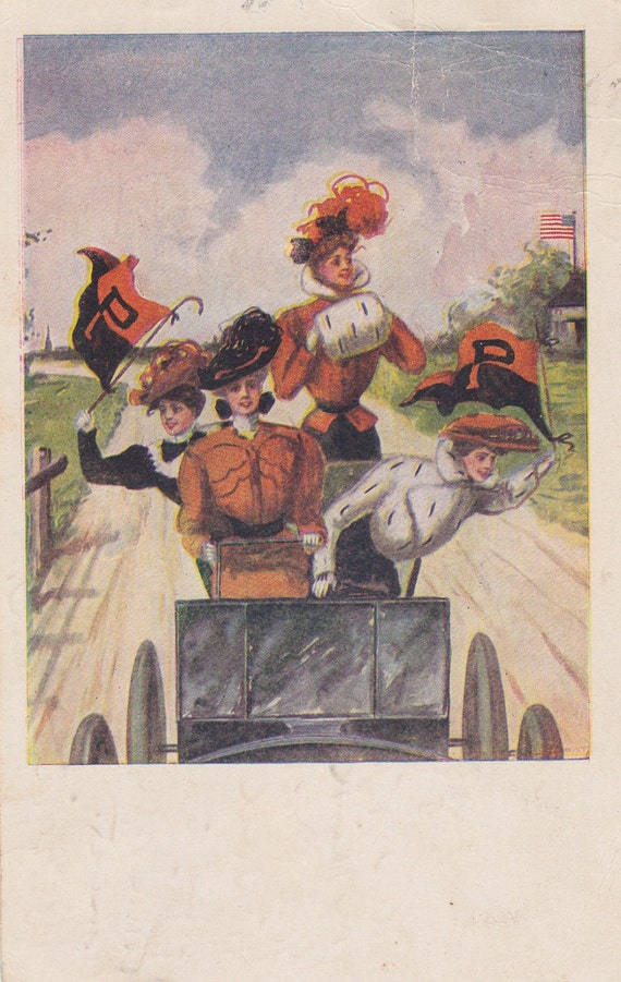 1900s Vintage Postcard: Four Women With Hats in an Automobile