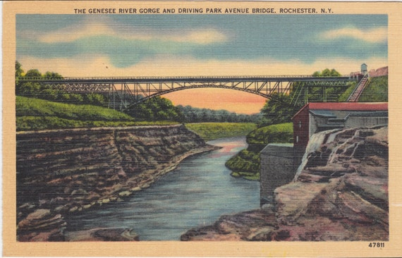 RESERVED for JANET Rochester N. Y. The Genesee River Gorge and Driving Park Avenue Bridge - Unused, 1940s, vintage postcard