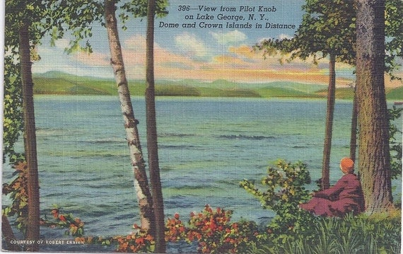 LAKE GEORGE, New York, View from Pilot Knob, Dome and Crown Islands in Distance, Vintage Postcard, Used, 1944, c. w. Hughes & Co., Inc.