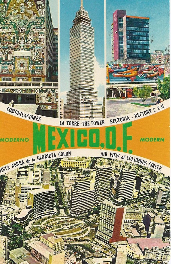 MAJOR SALE - MEXICO. Moderno, Modern, Air View of Columbus Circle, Vintage Used Postcard, 1960s, Ammex Asociados, S. A.