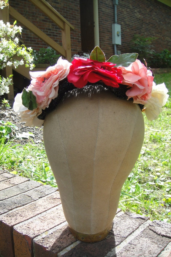 "The ""Polly"" - vintage ladies black Sunday hat with floral trim"