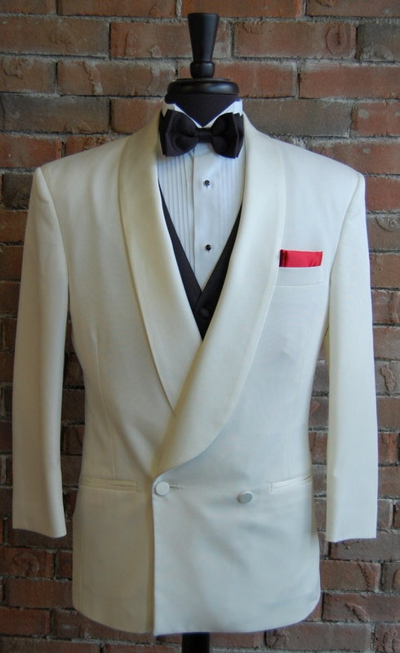 Mens 44l Vintage Classic Ivory Double Breasted Dinner Jacket