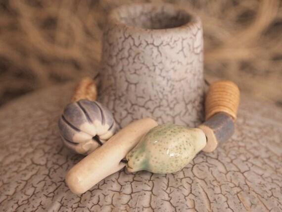 Handmade Ceramic  Beads set 3