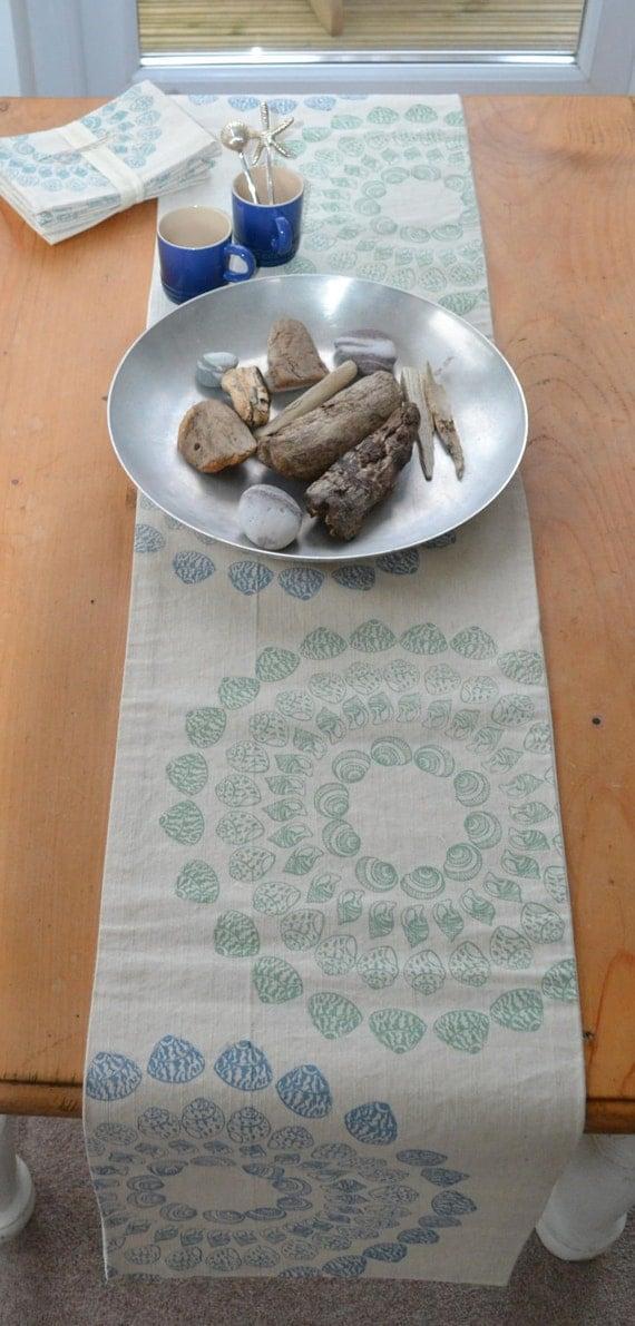 Hand Printed Linen Sea Shell Table Runner