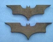 "Set of 2 Batman Wood Logos Dark Knight Style 10.5"" x 3.5"" Solid Wood"