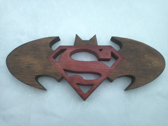 "Batman & Superman Logo - Two In One Custom Made 10.5"" x 4.5"" Wall Art Solid Wood"