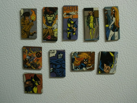 Set of 10 Decoupage Refrigerator Magnets Featuring the X-Men