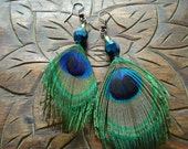 Peacock feather and czech glass dangle earrings
