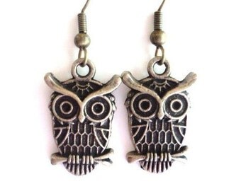 Owl Earrings Unique Gift For Her Christmas Stocking Stuffer Black Friday Cyber Monday Sale Under 10 Item B4