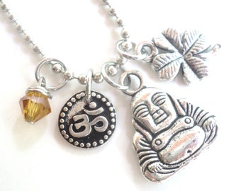 Buddha Necklace Good Luck Yoga Jewelry Om Zen Namaste Earthy Unique Gift For Her Christmas Stocking Stuffer Under 50 Item T9