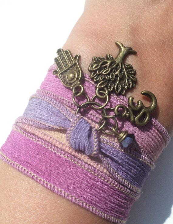 Tree of Life Silk Wrap Bracelet Hamsa Om Yoga Jewelry Namaste Bohemian Protection Jewelry Earthy Unique Gift Under 50 Item D3