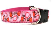 Pink Dog Collar SM Med Lge Pink Flowers