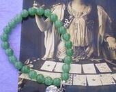 Dark Green Jade Beaded Bracelet with Metal Bird and Rhinestone Charms
