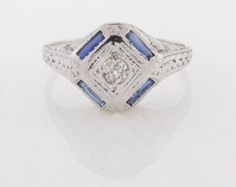18k DIAMOND & SAPPHIRE RING - Solid White Gold - Faceted/Brilliant/Channel Set Quality Natural Gemstones -  Art Deco - Positively Stunning