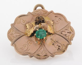 ANTIQUE BROOCH PENDANT - Solid Sterling Silver &  Gold Plate - Beautiful Natural Emerald - Original C Clasp - Rare Find