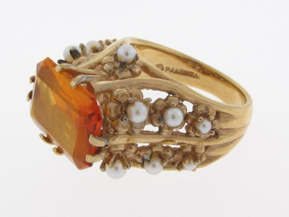 PANETTA DESIGNER RING Retro Vintage High End Costume Gold Vermeil Over Sterling Setting Emerald Cut Orange Citrine Stone with Pearl Accents