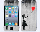 Iphone 4 Skin & iphone 4S Skin Banksy Balloon Girl On Wall iphone decal iphone 4 decal sticker