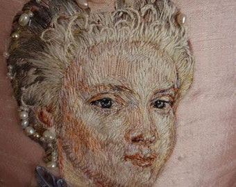 Marie Antoinette Portrait Corset Hand Embroidered Silk Thread Painting Rococo Wedding Paris Couture Theatre