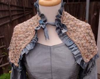 Victorian 1847 Hand Knit Lace Silk Ribbon Romantic Seaside Shawl Steampunk Jane Eyre Jane Austen Goth